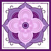 Abstract Purple Lotus Blossom Tile