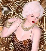 Blonde bombshell on brown glitter a