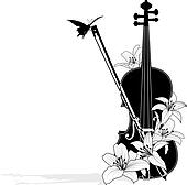 Vector floral musical composition