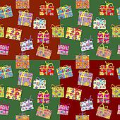 Wrapping paper with present boxes