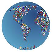 Globalisation, Earth globe with people made of flags of the world