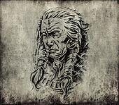 Tattoo art, sketch of an american  indian head