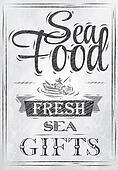 Poster Sea food. Coal.