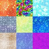 Set of neon shape symbols generated seamless textures