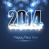 New year 2014 shiny blue colorful fantastic background vector