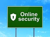 Safety concept: Online Security and Shield With Keyhole on road sign background