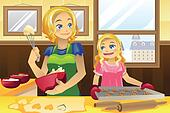 Mother daughter baking cookies