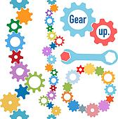 Gears colors industrial circle line border set