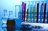 Laboratory flasks containing liquid