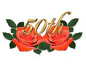 50th Anniversary graphic red roses