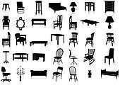 Furniture silhouette vector illustr