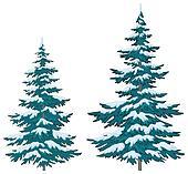 Christmas trees under snow
