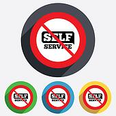 No Self service sign icon. Maintenance button.