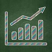 Finance concept: Growth Graph on chalkboard background