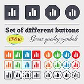 Growth and development concept. graph rate icon sign Big set of colorful, diverse, high-quality buttons.