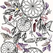 Boho seamless vector background with hand drawn dream catcher birds and feathers in engraved boho style with birdsand butterflies