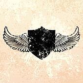Black grunge shield