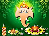 abstract green diwali card with candle