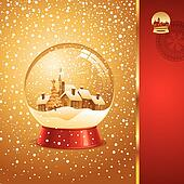 Vector Christmas card with snow globe