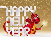Cute red dragon with a sparkler and greeting sign from paper letters - vector christmas illustration