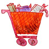 drawing children watercolor trolley cartoon products on a whit