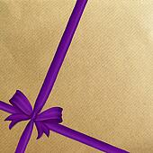 Brown wrapping paper purple ribbon