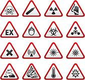 Set Triangular Warning Hazard Sign
