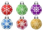 Colorfull Ornaments with Snowflakes Pattern