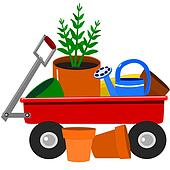 Garden wagon with plants