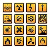 Hazard symbols orange vectors sign
