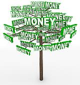 Money Growing on Trees Word on Tree Branches
