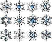 Silver-Blue Snowflakes