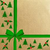 Brown wrapping paper green ribbon
