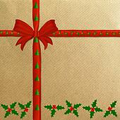 Brown wrapping paper red ribbon