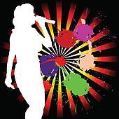 singing girl white silhouette