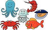 Cartoon sea animals.