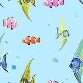 Fishs in water with bubbles.