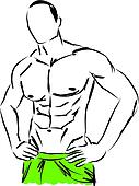work-out man body fitness illustrat