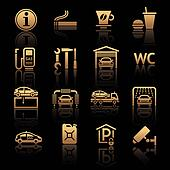 Set pictograms. Gas station