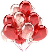 Red pink ballons party decoration
