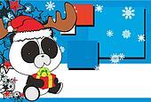 panda bear baby cartoon xmas backgr