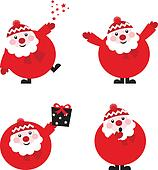 Collection of funny red Santa isolated on white, vector