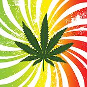 Rasta background with marijuana leaf