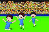 Children cartoon celebrate his goal