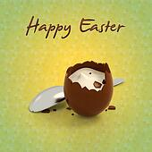 Easter chocolate egg cream filling on Spring background 2