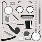 Gentlemens vintage set icons