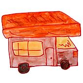 drawing cartoon kids watercolor motorhome on white background