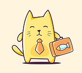 illustration of color business character cat with briefcase on yellow background.