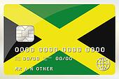 Illustration of a Credit Card with the Card being the flag of  Jamaica