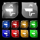 Washbasin icon sign. Set of ten colorful buttons with glare.